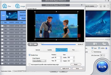Cropping a DVD in WinX DVD Ripper