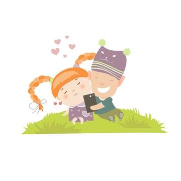 Young Couple Self Portrait Illustration