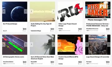 audio section on Envato Studio