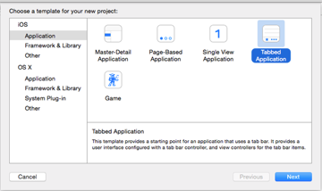 Creating new project - Selecting template