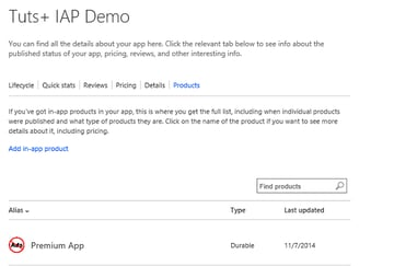 List of in-app products for an app in Windows Phone Dev Portal
