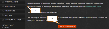 Click the Databases menu on the left and click Create Database