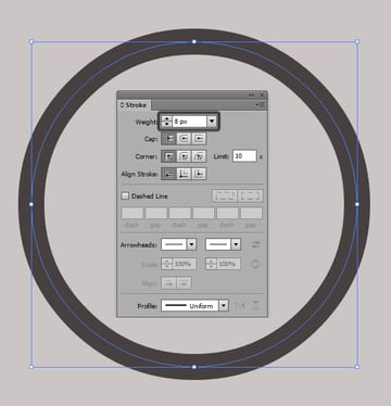 stroke settings for the circle
