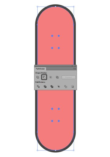 using pathfinders minus front to create the cut outs in the skateboard