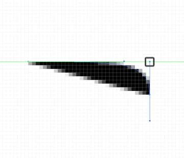 top aligned bezier handle to top side of object