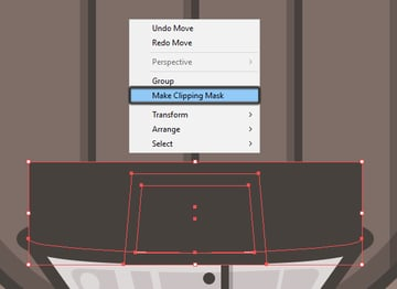 correcting the neck misalignment using a clipping mask