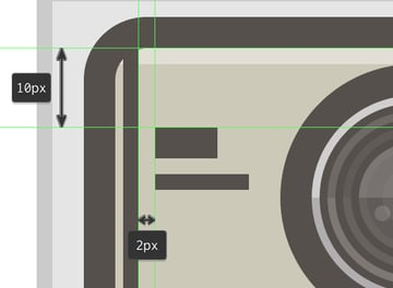 adding the mock up text lines to the camera icon