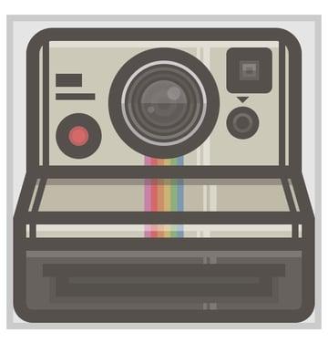 adding the rainbow to the polaroid camera icon