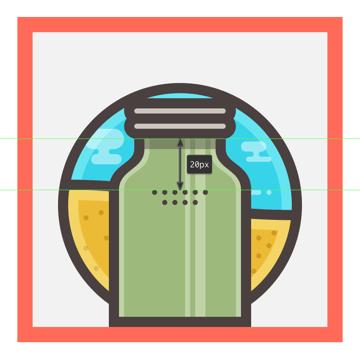 adding the decorative circles to the mojito jar