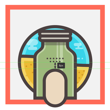 adding the main shapes for the jars label
