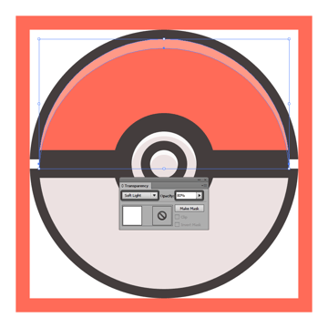 adding the subtle highlight to the upper half of the poke ball