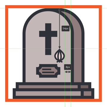 positioning the garlic onto the grave icon