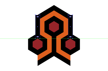 adding the vertical rectangle to the second and third hexagon details