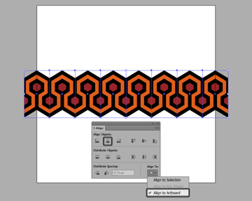 aligning the row of repeating elements to the center of the artboard