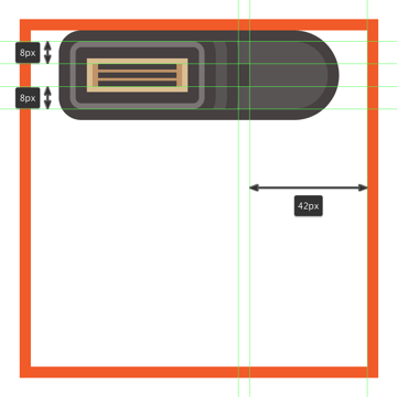 adding the small rectangle to the upper side section of the flash