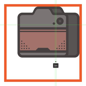 creating and positioning the decorative circle onto the front section of the camera