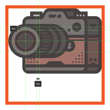 creating and positioning the main shapes for the darker section of the cameras lens