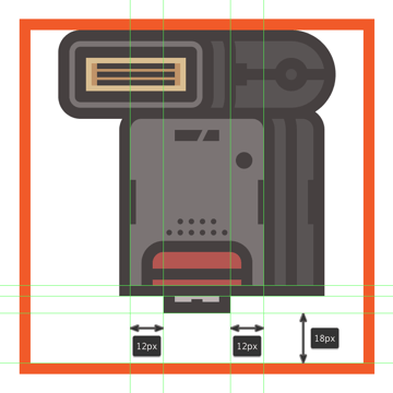 creating and positioning the main shapes for the front section of the flashs connector