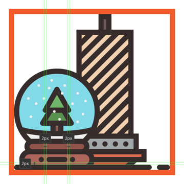 adding details to the lower section of the christmas globes base