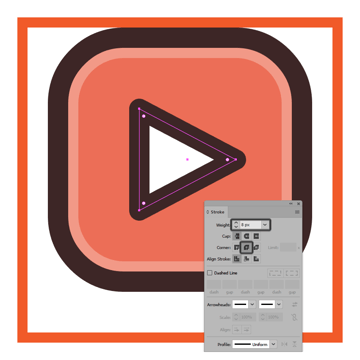 adding the outline to the youtube icons play arrow