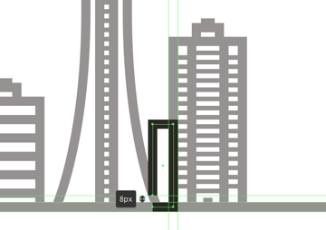 creating and positioning the main shape for the seventh buildings body