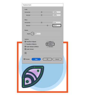 adding the bottom half to the butterfly icons left wing
