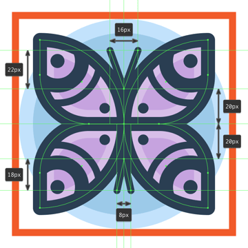 adding the antennas and legs to the butterfly icon