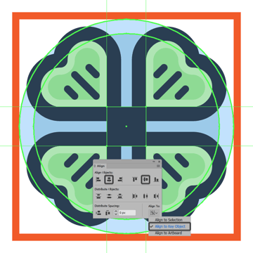 creating and positioning the main shape for the clover icons center section