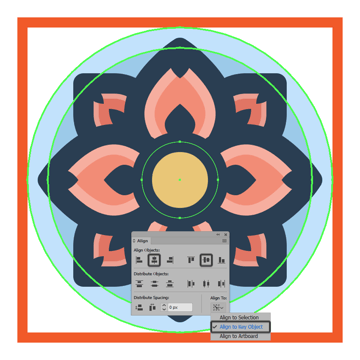 creating and positioning the main shapes for the flower icons center section