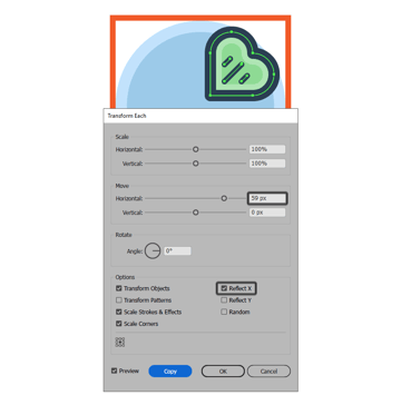 creating the clover icons right leaf using the transform each function