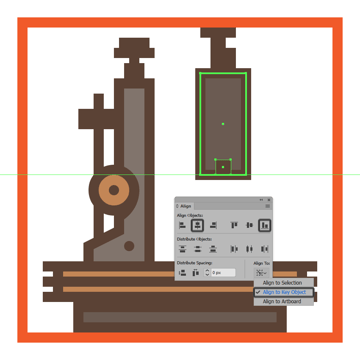 adding the rectangular insertion to the bottom of the microscopes main body