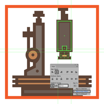 creating and positioning the main shapes for the upper section of the microscopes objective