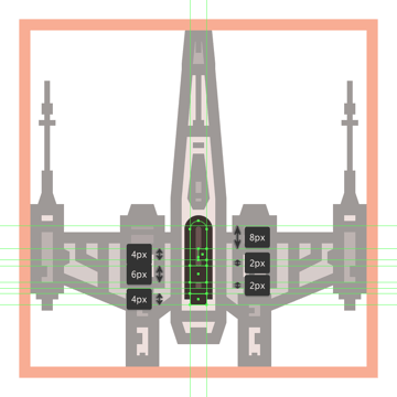 adding the little detail rectangles to the x-wings deflector shield generator