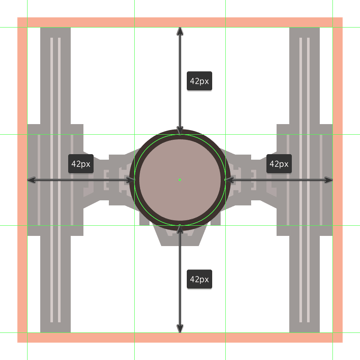 creating the main shapes for the tie fighters command pod