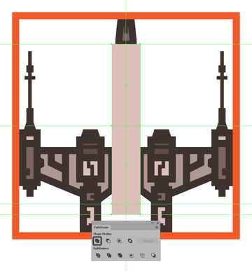creating the main shapes for the x-wings body