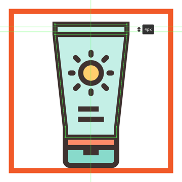 adding the horizontal detail line to the sun cream bottles upper section