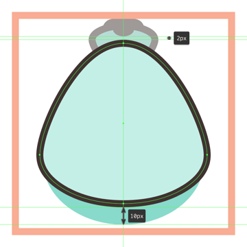 adding the outline to the shell icons inner body section