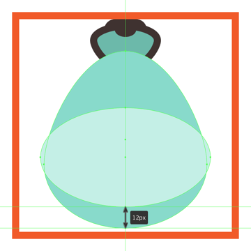 creating and positioning the main shape for the shell icons inner body section