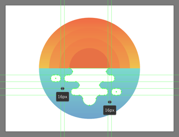 adding the side segments to the illustrations outer water reflection
