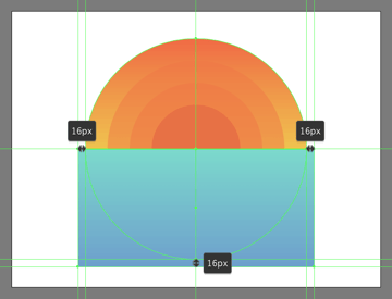 creating and positioning the main shape for the illustrations water section