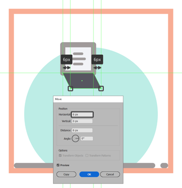 creating and adjusting the main shape for the first phones screen section