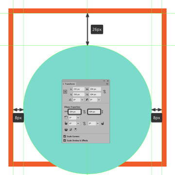 creating and positioning the main shape for the first icons background