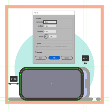 creating and positioning the main shapes for the front section of the second phones bottom half