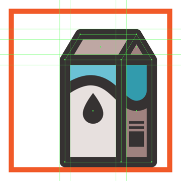 adding the outline to the front section of the milk boxs upper body