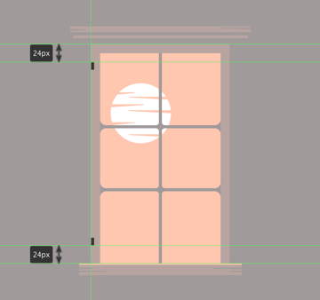 creating and positioning the main shapes for the windows left door hinges