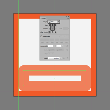 creating and positioning the main shape for the bottom section of the download button