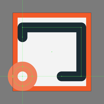 creating and positioning the smaller circle for the cast button