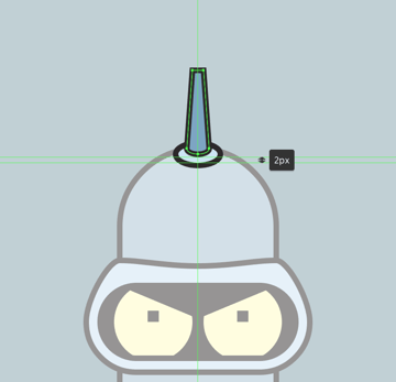 adding the outline to the upper section of the antenna