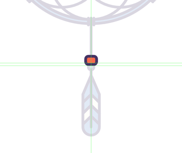 adding the red bead to the middle feather