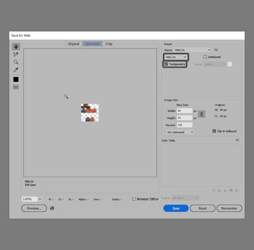 exporting the skin using the save for web option